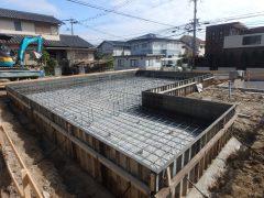 福岡 注文住宅 樋井川 建築リポート2 基礎配筋